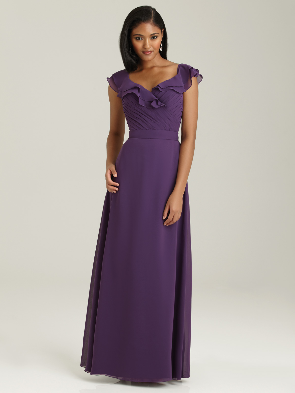Purple chiffon bridesmaid dresses.