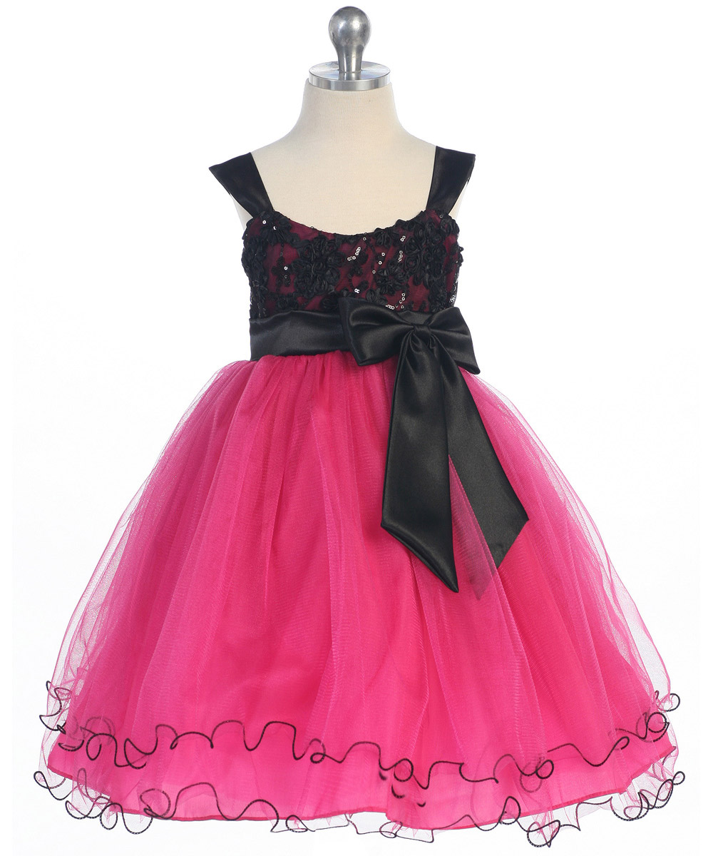 fuschia poufy skirt and sparkling sequin bodice
