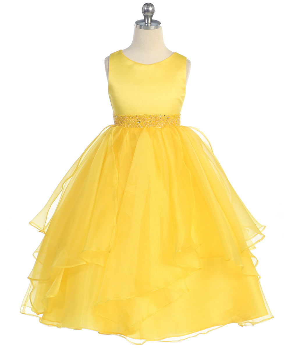 Yellow and grey girl dress
