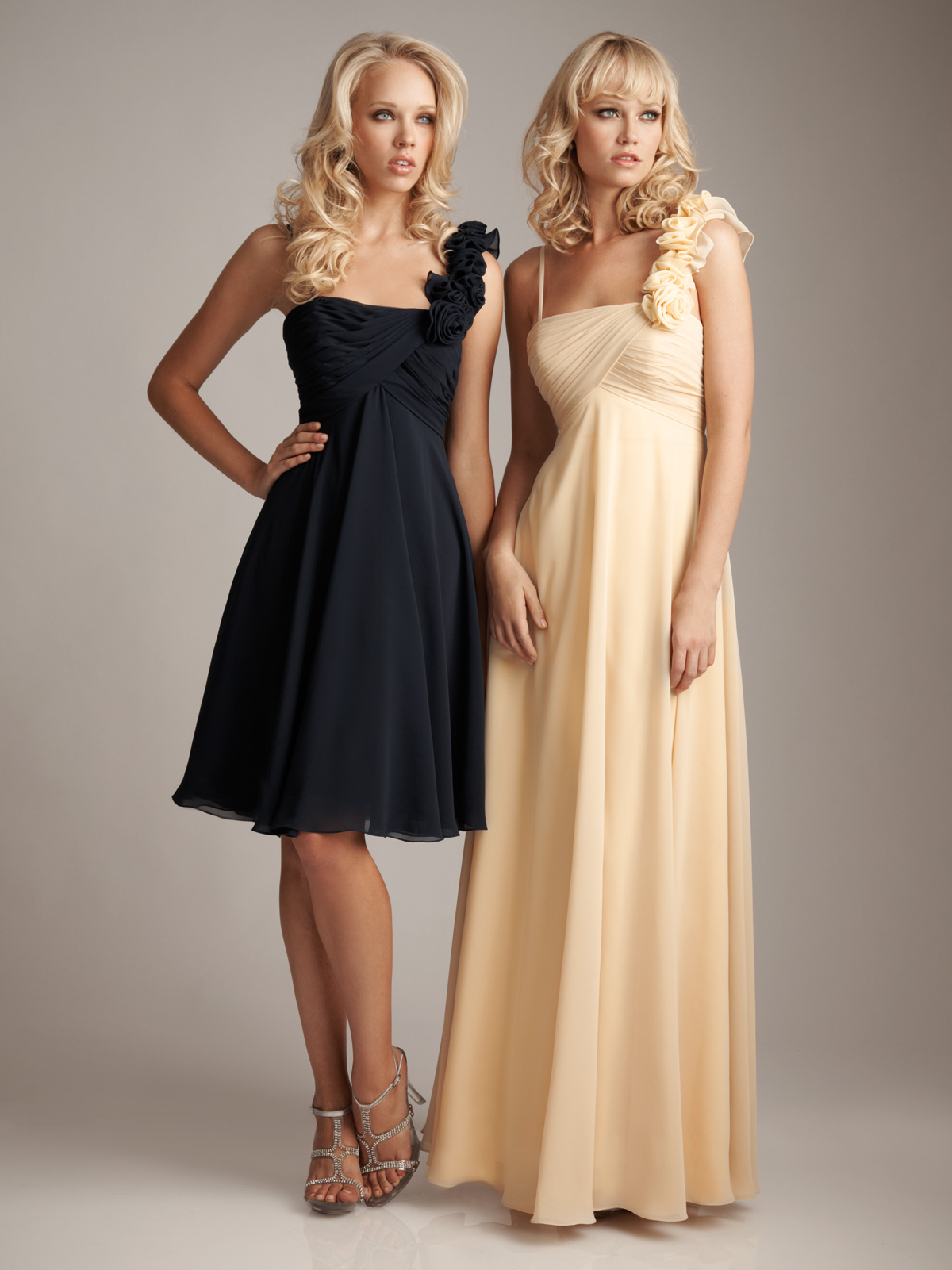 Persimmon Bridesmaid Dresses One Shoulder Chiffon Flower Trim Strap