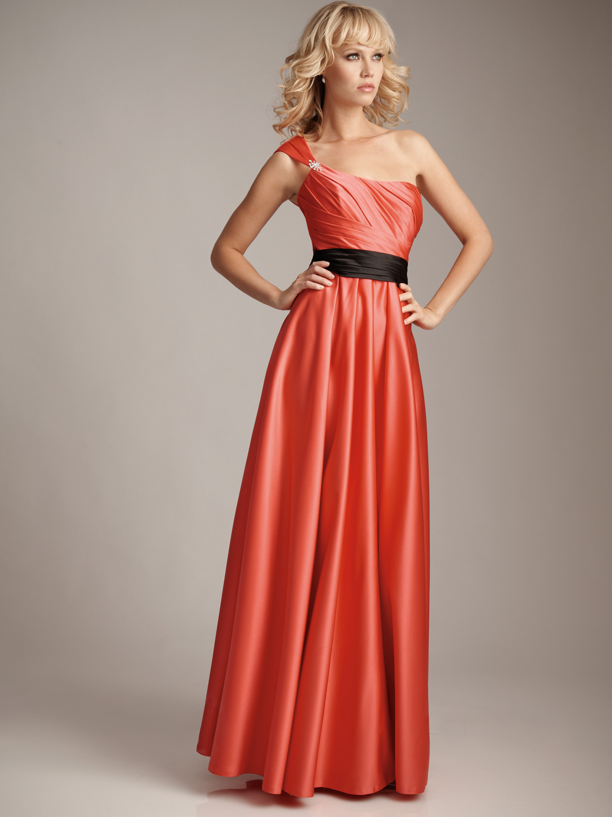 One shoulder sweetheart bridesmaid dress orange one shoulder strap dresses ombrellifo Image collections