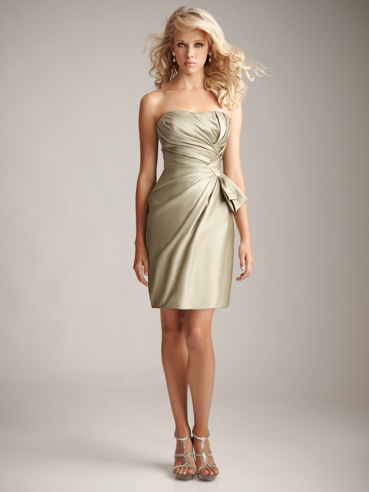 Gorgeous satin bridesmaids dress short pleated champagne bridesmaid dress ombrellifo Images