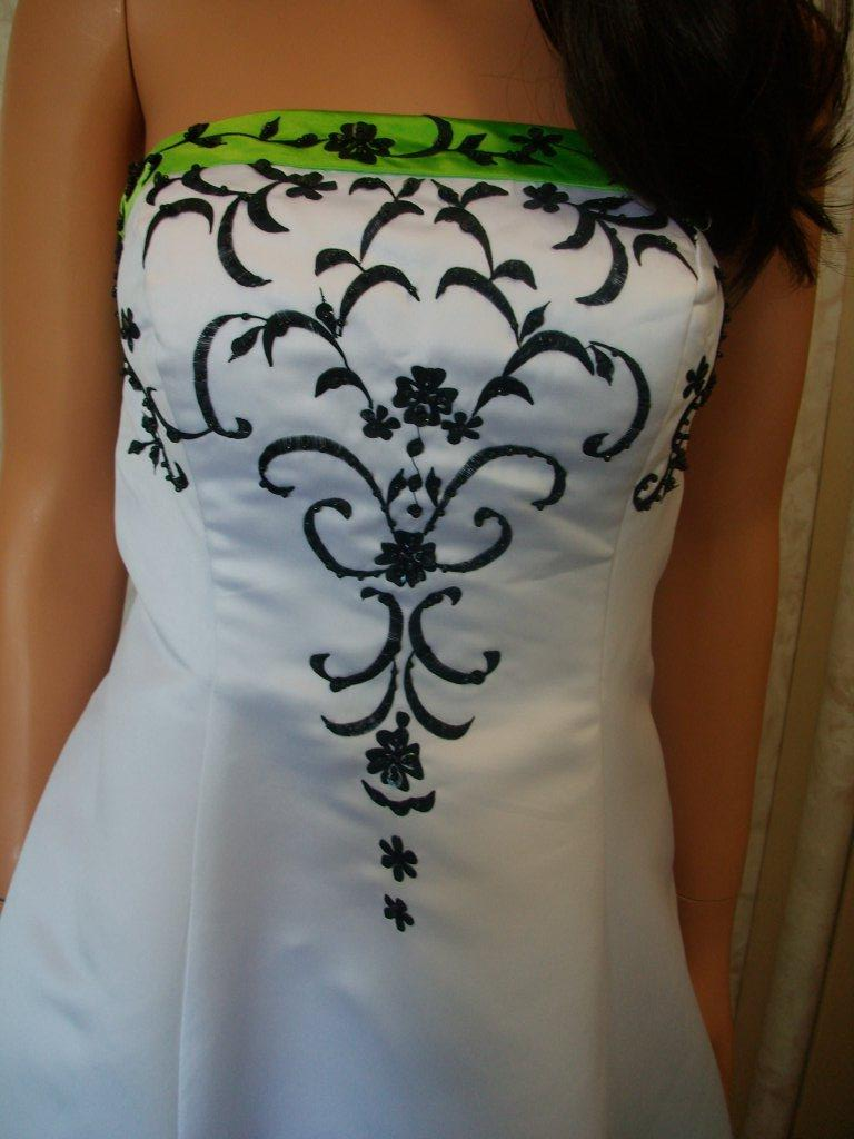 ... Wedding Gown Green Black White ...
