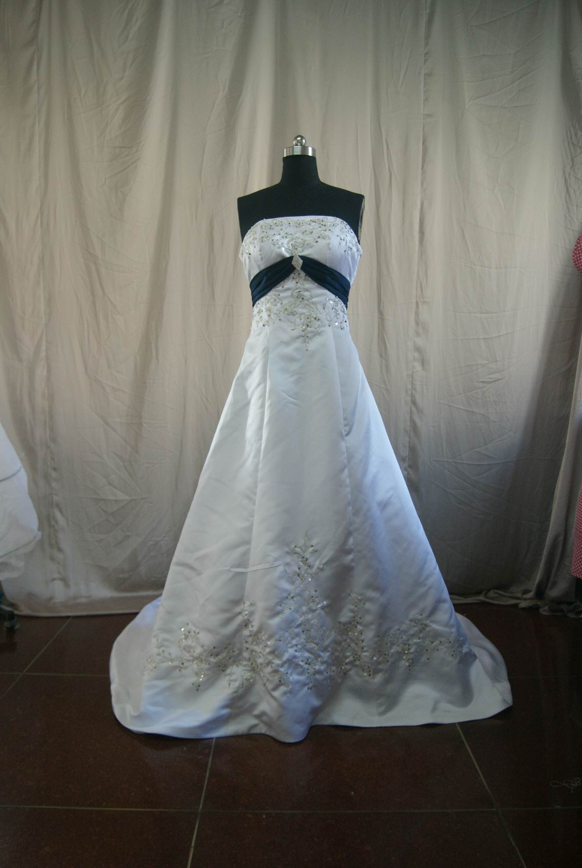Off White And Navy Wedding Dress
