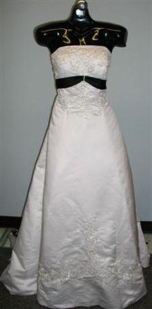 white wedding gown with black embroidery
