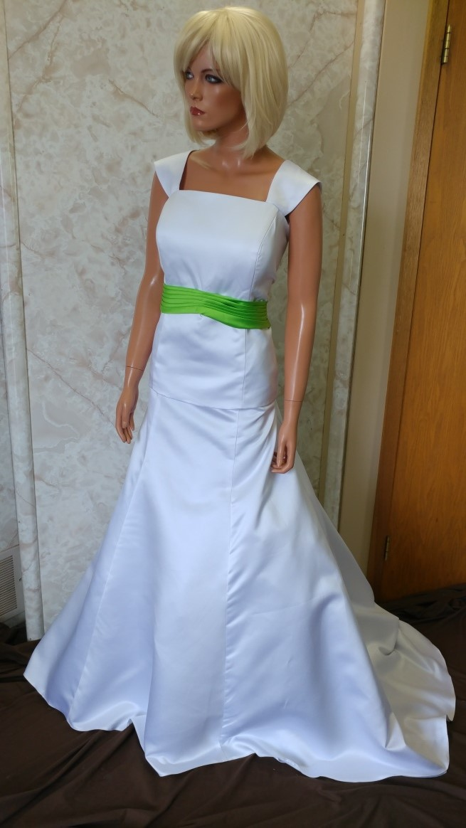 White and lime green wedding dresses.