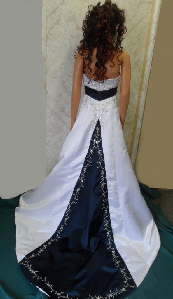 white and navy wedding dress
