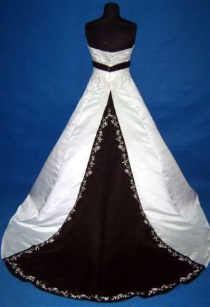 White wedding gown with black accents