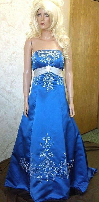 Colorful bridal gowns color accents bridal gown for Royal blue and silver wedding dresses