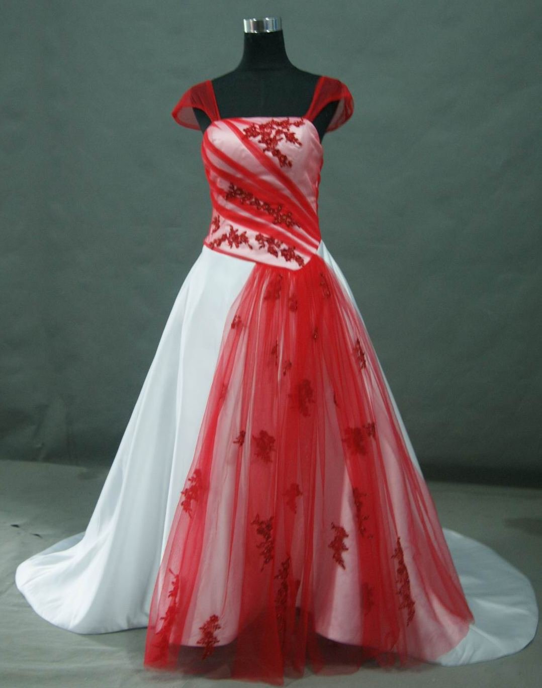 Bridal Gowns With Color Red And White Wedding Dress With Cap Sleeves
