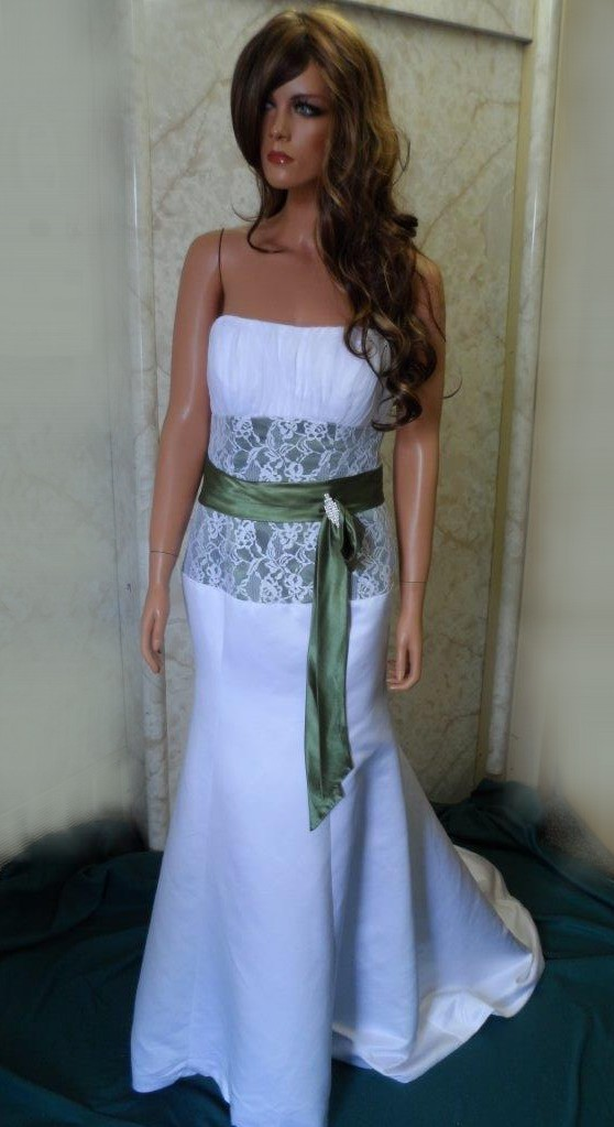 White strapless wedding gown with deep olive green