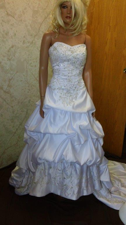Bridal gowns with pick up skirt corset wedding dresses for Pick up wedding dress