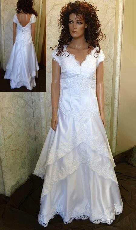 White off the shoulder Wedding dress with cap sleeves
