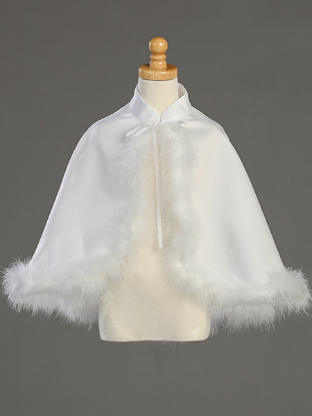 White Satin Cape with Marabou feather trim
