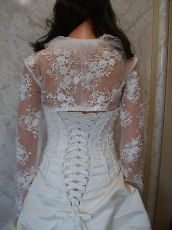 lace jacket with accordion style collar