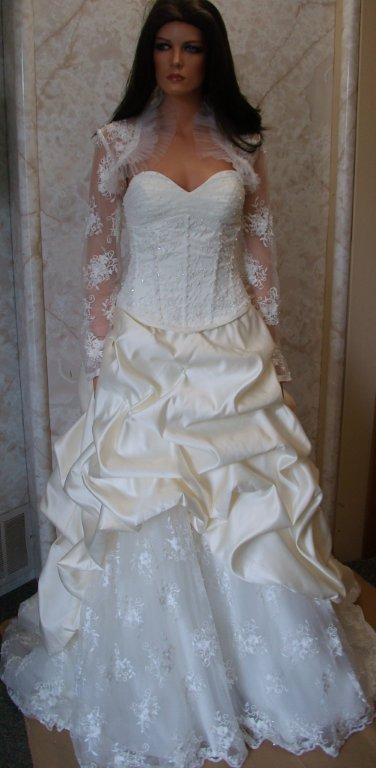 empire waist wedding dress with long sleeve lace jacket