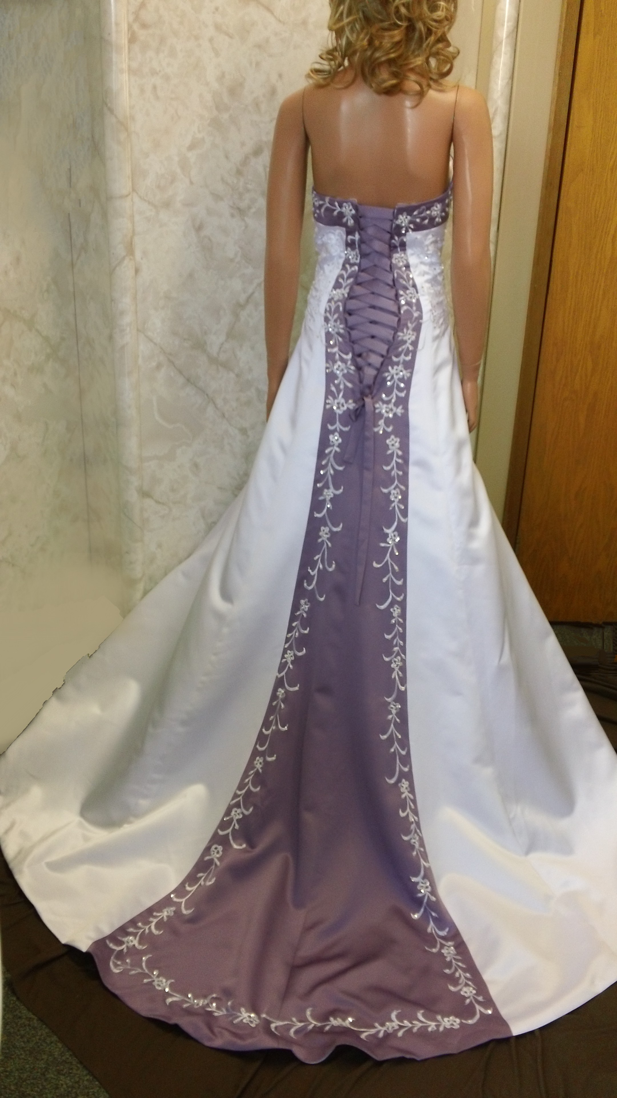 orchid trimmed wedding gown