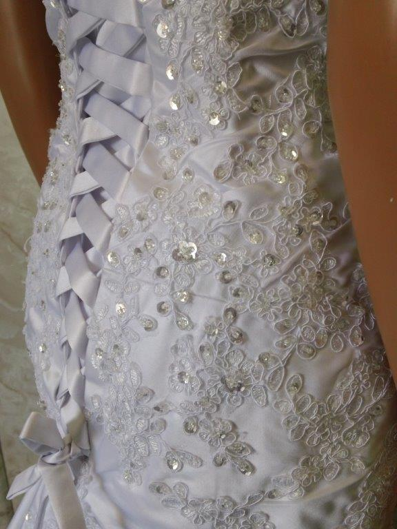 beaded wedding gown with corset lace up back