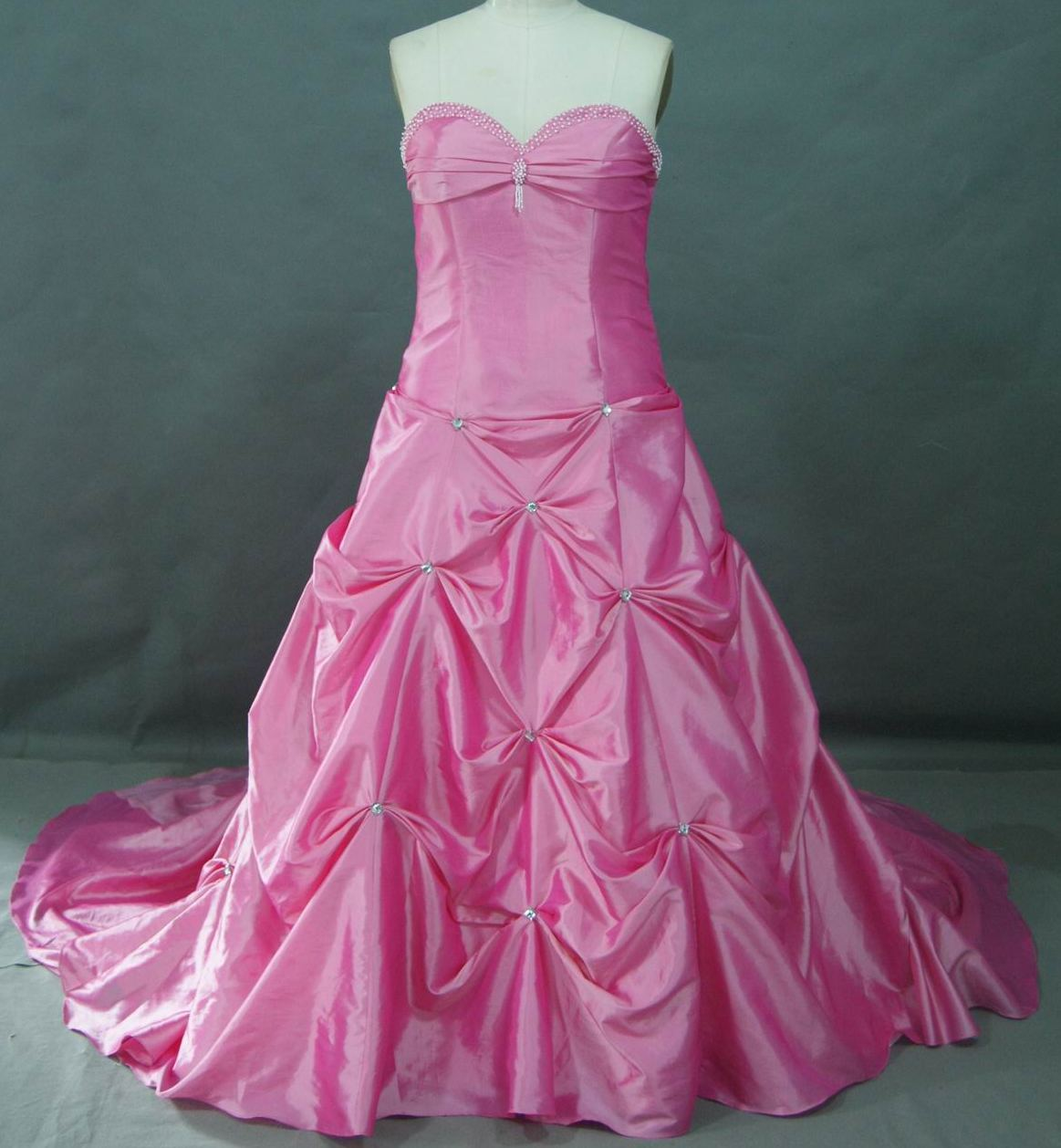 long Bubblegum pink clearance prom dress