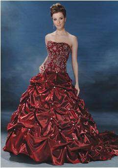 red bridal gown