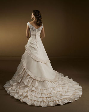 Tiered ruffle asymmetrical skirt and train wedding dress for Tiered ruffle wedding dress