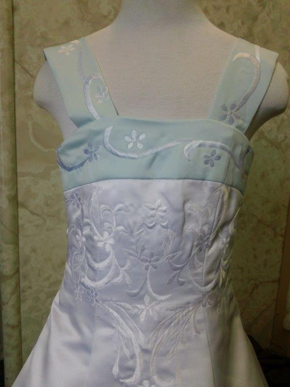 white and baby blue flower girl dresses