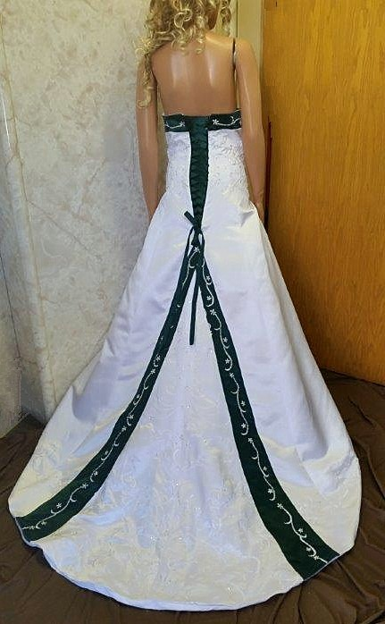 white emerald green wedding gown