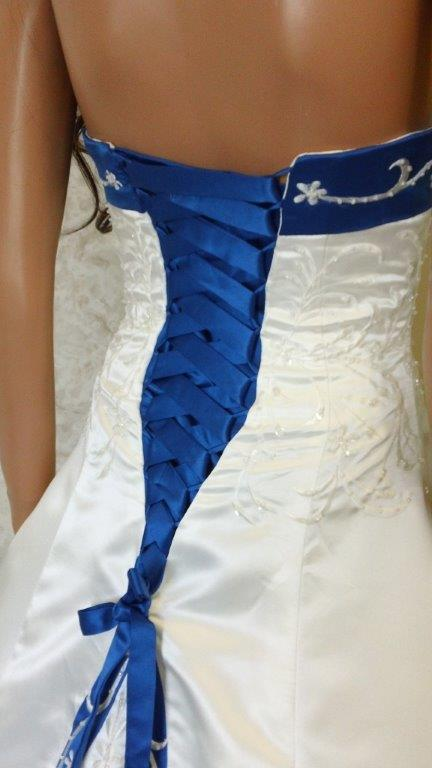 Ivory And Royal Blue Wedding Dress