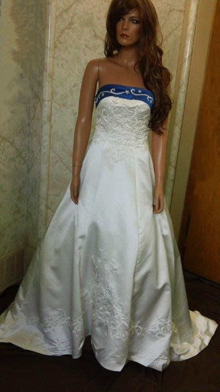 wedding dresses with blue accents - Dress Yp