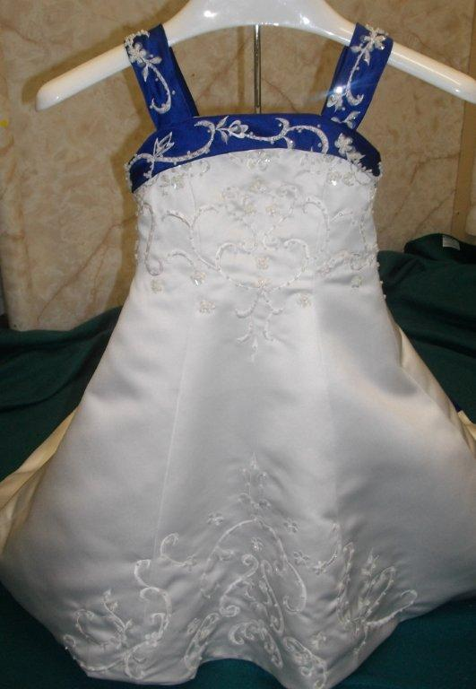 white and royal blue miniature bridal gown