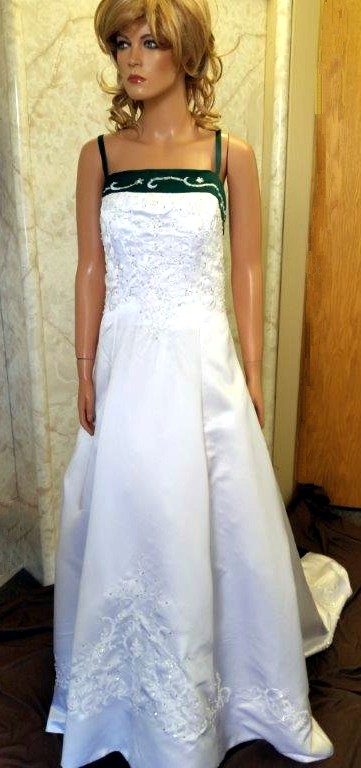 white forest green wedding gown