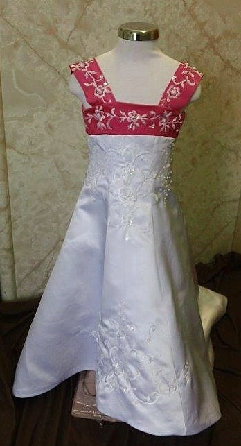 white raspberry wedding dress