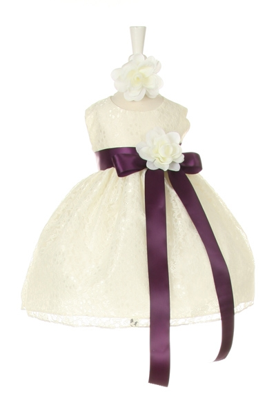 ivory dress with purple sash