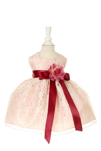 peach rose infant lace dress with wine bow