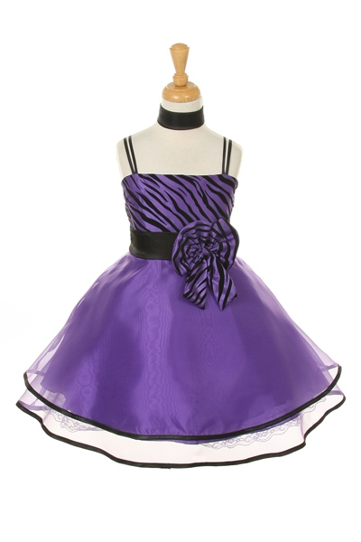 Purple Zebra Print Dresses For Kids