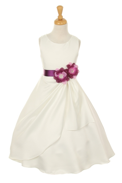 ivory flower girl dress with purple flower sash