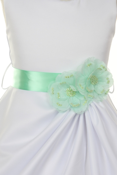 White or ivory flower girl dress with colored sash white flower girl dress with orange flower mightylinksfo