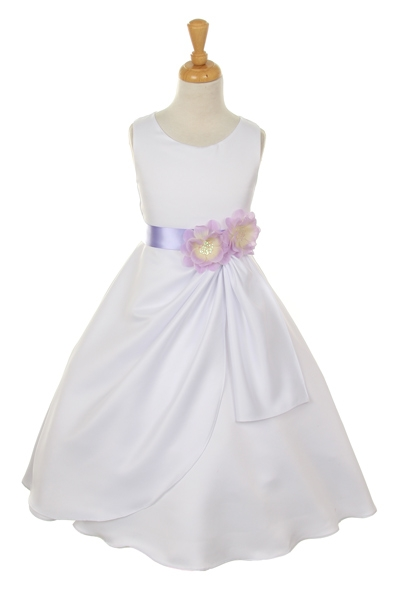 ivory dress with lilac flower sash