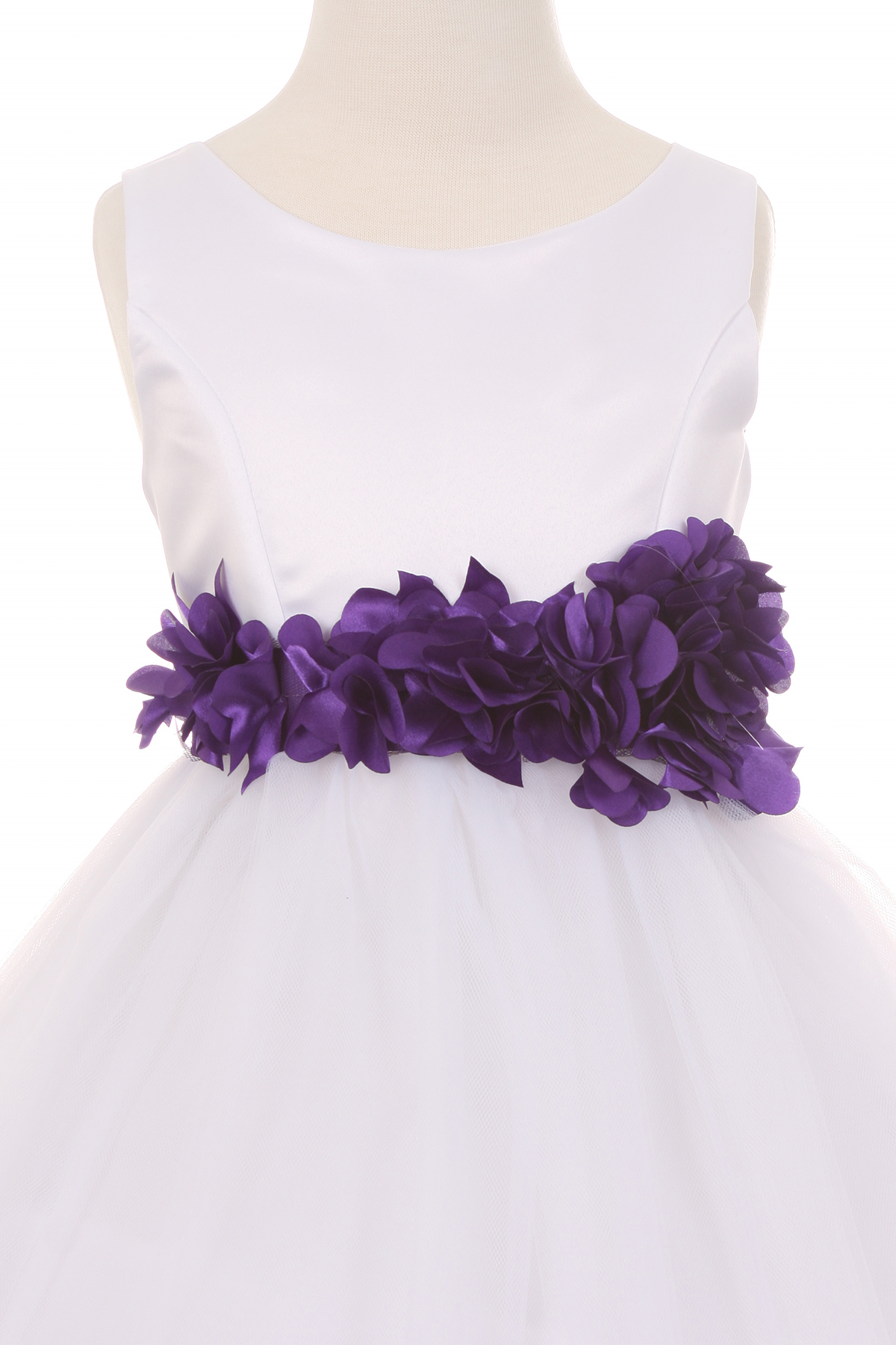 white dress with purple flower sash