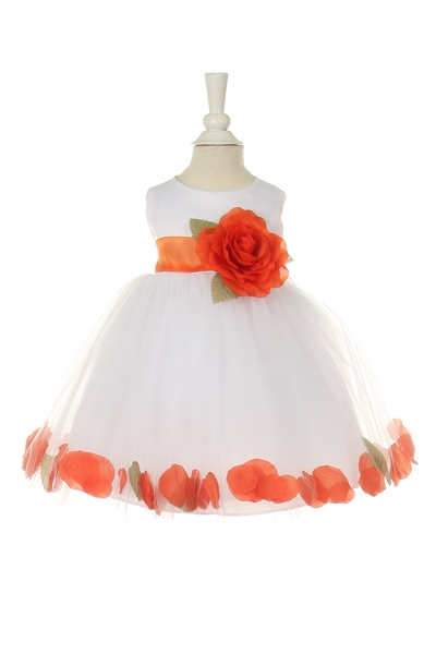 white  baby flower girl dress with orange petals and sash