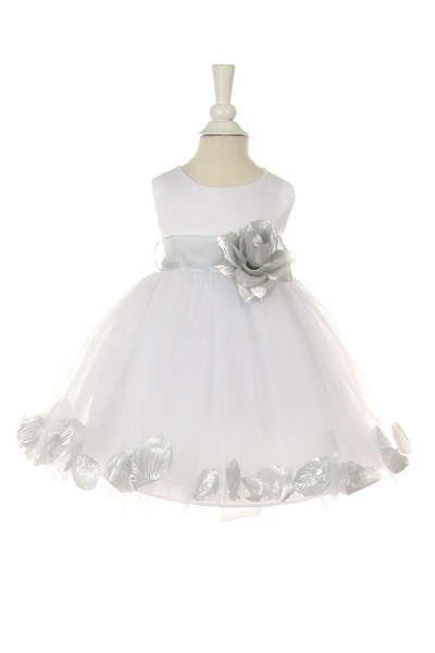 28f48e5878dd ... white baby flower girl dress with silver petals and sash