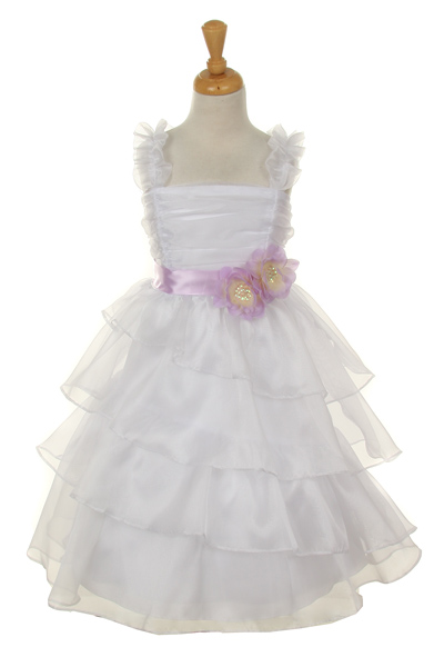 White Easter dresses for your little girls with lilac sash