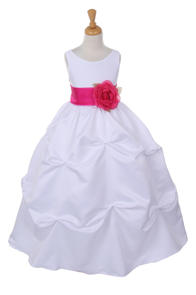 white flower girl dress with fuschia