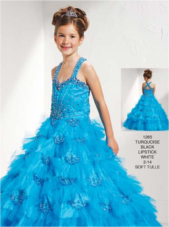 Sweetheart cross back child pageant long dress.