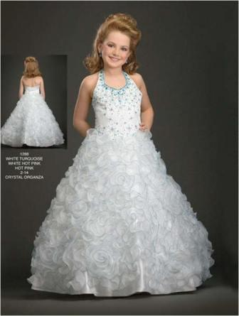 Girls halter pageant dress with rosette flower skirt