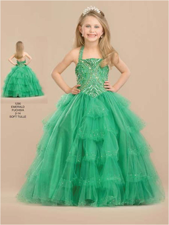 Organza girls tiered halter pageant dress.