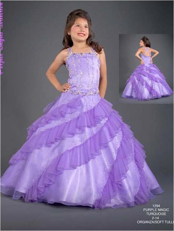 Purple pageant dress with ruffled skirt.
