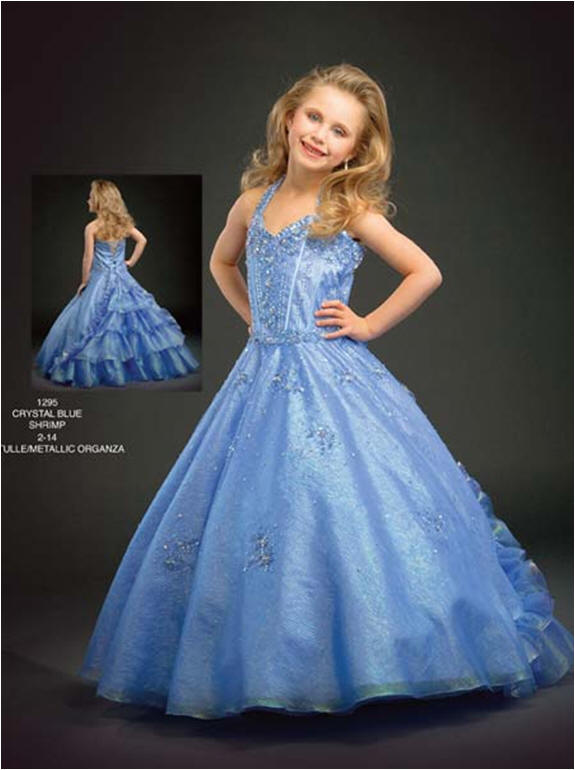 blue ruffled pageant dresses for young girls