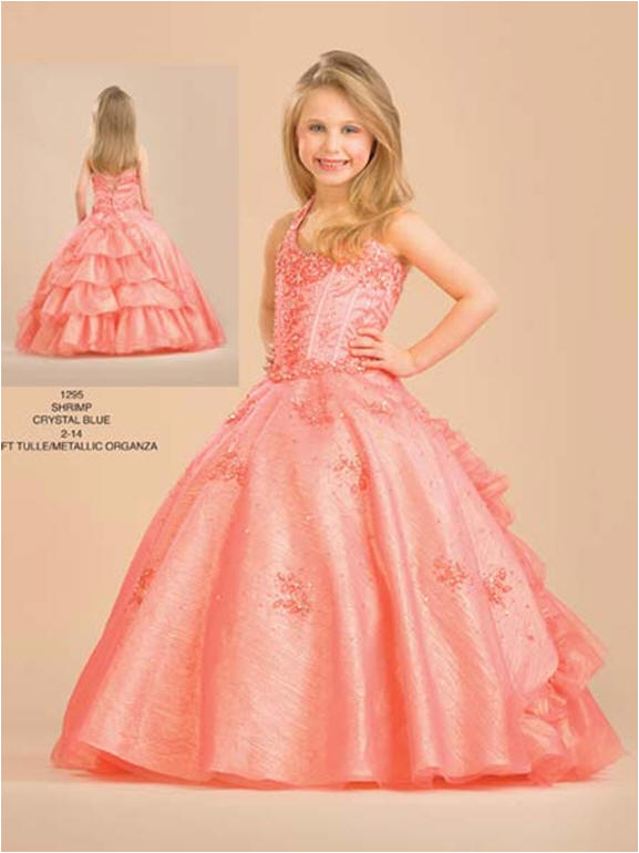 peach ruffled pageant dresses for young girls