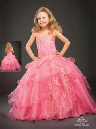 Popular organza halter ball gown